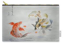 Original Animal  Oil Painting Art- Goldfish Carry-all Pouch by Hongtao     Huang