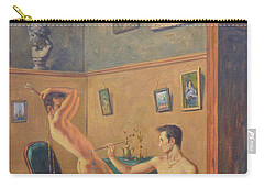 Original Classic Oil Painting Gay  Male Nude Man Body Art  On Canvas#16-2-6-16 Carry-all Pouch by Hongtao     Huang