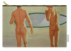 Original  Man Body Oil Painting  Gay Art -two Male Nude By The Sea#16-2-3-02 Carry-all Pouch by Hongtao     Huang
