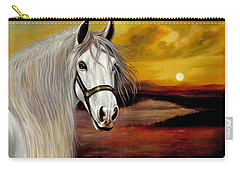 Original Oil Painting Animal Art-horse In Sunset #015 Carry-all Pouch by Hongtao     Huang
