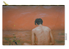 Original Oil Painting Gay Man Art-male Nude#16-2-5-43 Carry-all Pouch by Hongtao     Huang