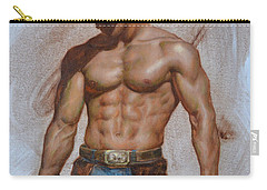 Original Oil Painting Gay Man Body Art-cowboy#16-2-5-19 Carry-all Pouch