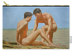 Original Oil Painting Man Body Art -male Nude By Hongtao#16-1-31-05 Carry-all Pouch by Hongtao     Huang