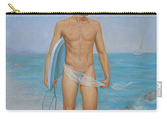 Original Oil Painting Man Body Art-male Nude On Seaside #16-2-1-03 Carry-all Pouch by Hongtao     Huang
