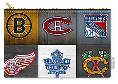 Original Six Hockey Team Retro Logo Vintage Recycled License Plate Art Carry-all Pouch by Design Turnpike