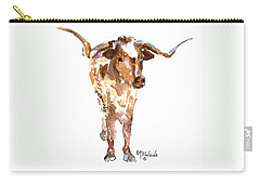 Original Longhorn Standing Earth Quack Watercolor Painting By Kmcelwaine Carry-all Pouch by Kathleen McElwaine