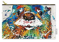 Carry-all Pouch featuring the painting Otter Art - Ottertude - By Sharon Cummings by Sharon Cummings