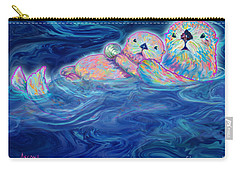 Carry-all Pouch featuring the mixed media Otter Family by Teresa Ascone
