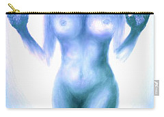 Carry-all Pouch featuring the photograph Outsider Series - Trapped Behind The Glass - In Blue by Lilia D