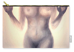 Carry-all Pouch featuring the photograph Outsider Series - Trapped Behind The Glass - In Sepia by Lilia D