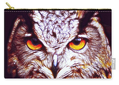Carry-all Pouch featuring the digital art Owl - Fractal by Lilia D