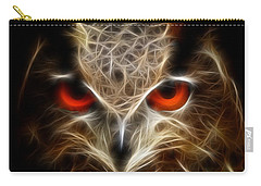 Carry-all Pouch featuring the digital art Owl - Fractal Artwork by Lilia D