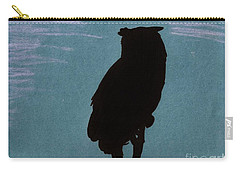 Carry-all Pouch featuring the drawing Owl Silhouette by D Hackett