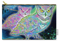 Carry-all Pouch featuring the painting Owls At Midnight  Square by Teresa Ascone