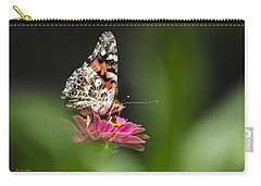 Carry-all Pouch featuring the photograph Painted Lady Butterfly At Rest by Christina Rollo