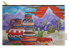 Painted Pots And Chili Peppers Carry-all Pouch