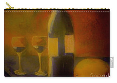 Carry-all Pouch featuring the painting Painting And Wine by Lisa Kaiser