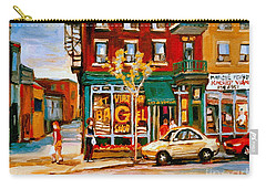 Paintings Of  Famous Montreal Places St. Viateur Bagel City Scene Carry-all Pouch