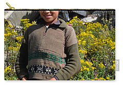 Carry-all Pouch featuring the photograph Pakistani Boy In Front Of Hotel Ruins In Swat Valley by Imran Ahmed