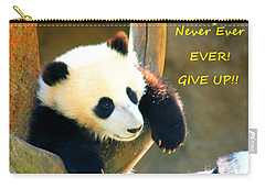 Panda Baby Bear Never Ever Ever Give Up Carry-all Pouch