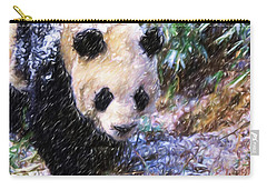 Carry-all Pouch featuring the painting Panda Bear Walking In Forest by Lanjee Chee
