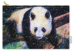 Carry-all Pouch featuring the painting Panda In The Rest by Lanjee Chee