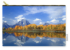Panorama Fall Morning At Oxbow Bend Grand Tetons National Park Carry-all Pouch