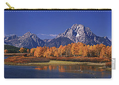 Carry-all Pouch featuring the photograph Panorama Fall Morning Oxbow Bend Grand Tetons National Park Wyoming by Dave Welling