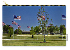 Carry-all Pouch featuring the photograph Panorama Of Flags - Veterans Memorial Park by Allen Sheffield