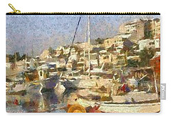 Panoramic Painting Of Mikrolimano Port Carry-all Pouch
