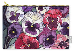 Pansies Carry-all Pouch by Katherine Miller