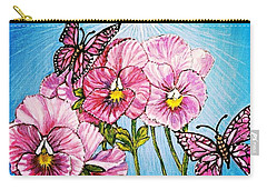Carry-all Pouch featuring the painting Pansy Pinwheels And The Magical Butterflies With Blue Skies by Kimberlee Baxter