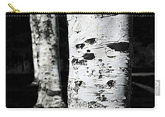 Black And White Carry-all Pouch featuring the photograph Paper Birch by Aaron Berg