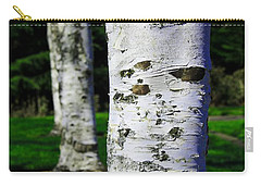 Black And White Carry-all Pouch featuring the photograph Paper Birch Trees by Aaron Berg