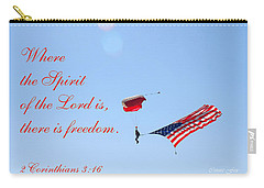 Carry-all Pouch featuring the photograph Parachuting With Old Glory by Connie Fox