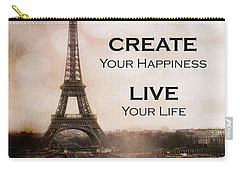 Paris Eiffel Tower Sepia Photography - Paris Eiffel Tower Typography Life Quotes Carry-all Pouch