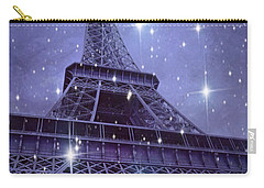Paris Eiffel Tower Starry Night Photos - Eiffel Tower With Stars Celestial Fantasy Sparkling Lights  Carry-all Pouch