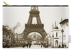 Carry-all Pouch featuring the photograph Paris Exposition Eiffel Tower Paris France 1900  Historical Photos by California Views Mr Pat Hathaway Archives