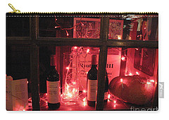 Paris Holiday Christmas Wine Window Display - Paris Red Holiday Wine Bottles Window Display  Carry-all Pouch