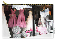 Paris Pink White Bridal Dress Shop Window Paris Decor Carry-all Pouch