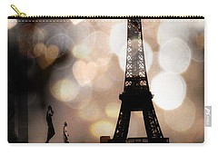 Paris Surreal Fantasy Sepia Black Eiffel Tower Bokeh Hearts And Circles - Paris Sepia Fantasy Nights Carry-all Pouch by Kathy Fornal