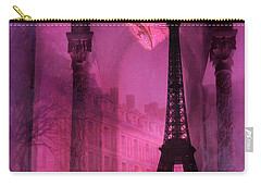Paris Romantic Pink Fantasy Love Heart - Paris Eiffel Tower Valentine Love Heart Print Home Decor Carry-all Pouch