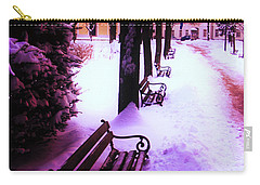 Park Benches In Snow Carry-all Pouch by Nina Ficur Feenan