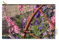 Pastel Colored Larkspur Flowers With Rusty Wagon Wheel Art Prints Carry-all Pouch