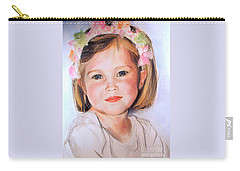 Pastel Portrait Of Girl With Flowers In Her Hair Carry-all Pouch