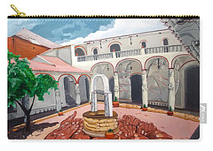 Carry-all Pouch featuring the painting Patio Colonial by Lazaro Hurtado