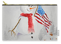 Patriotic Snowman Carry-all Pouch by Jimmy Smith