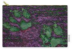 Paw Prints In Green And Mauve Carry-all Pouch
