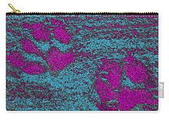 Paw Prints In Pink And Turquoise Carry-all Pouch