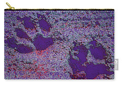 Paw Prints In Purple With Red Glow Carry-all Pouch